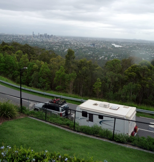 Patricia & Stanley admiring the view over Brisbane from Mt Coot-tha