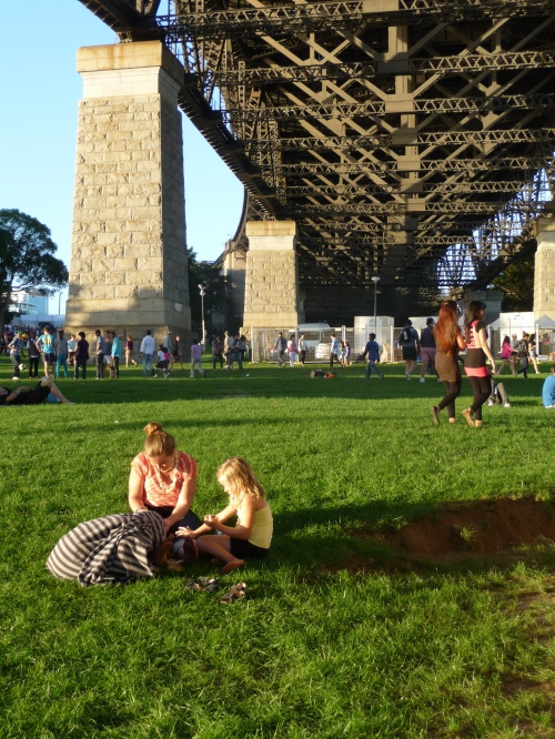 Tanya and the girls painting their nails under the bridge!