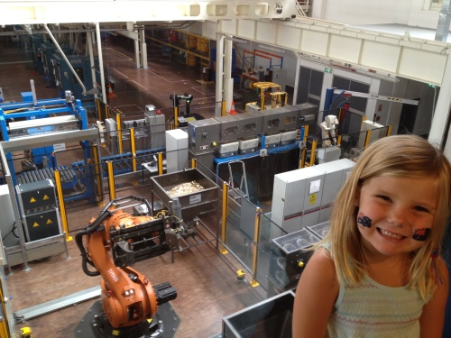 Emma overlooking The Mint's factory floor.