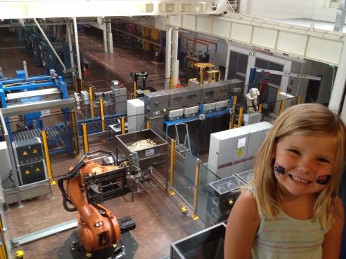 Emma overlooking The Mint's factory floor.