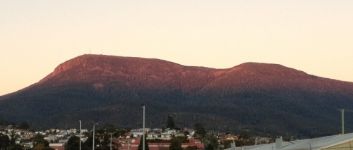 An early morning red Mt Wellington