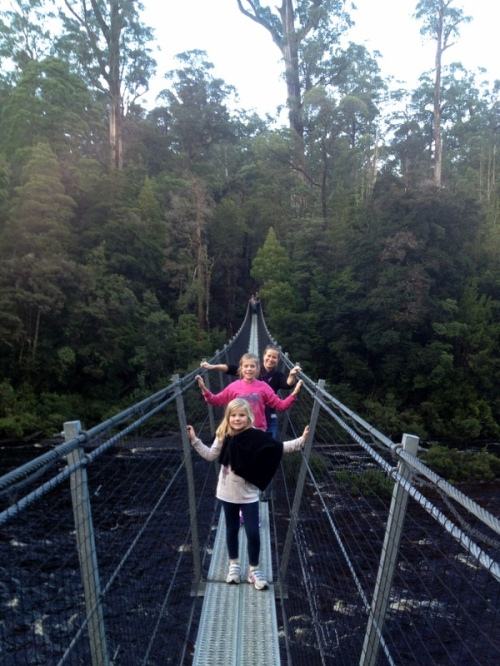 Tanya, Georgia and Emma crossing one of the swinging bridges