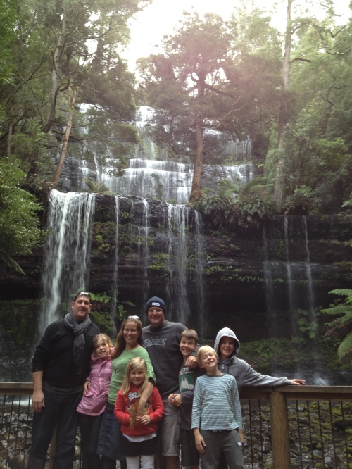 The gang at Russell Falls