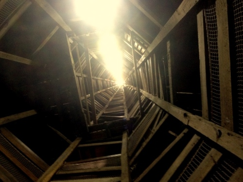 Looking up the spiral staircase to the top of the tower
